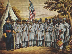 Col. Robert Gould Shaw and the men of the Massachusetts 54th (litho)