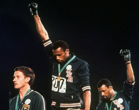 Peter Norman, Tommie Smith and John Carlos 1968 Olympics.