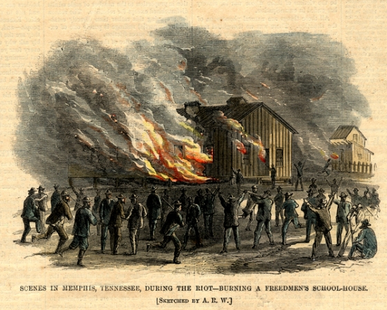Memphis Tennessee Freedmen's school being burned down